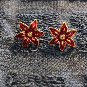 Avon Goldtone Red Enamel Poinsettia Earrings
